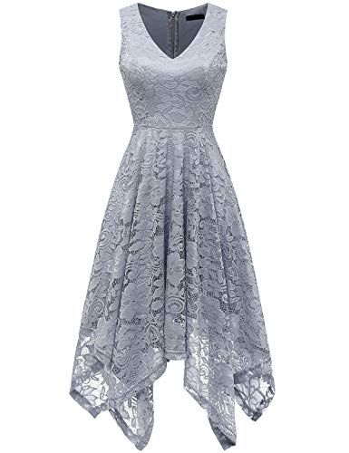 Summer Wedding Guest Dress Vintage Floral Lace Dress Homecoming Prom Graduation Bridesmaid Grey M