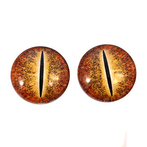 Orange Dinosaur Glass Eyes Dragon Reptile Art Dolls Taxidermy Sculptures or Jewelry Making Cabochons Crafts Matching Set of 2 (25mm)