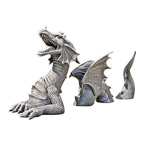 Lingge Giardino Dragon Resin Gardening Statue Dragon Garden Display Decorativo Accento Accentimento Scultura Pietra Finish 7 Pollici Alto Security