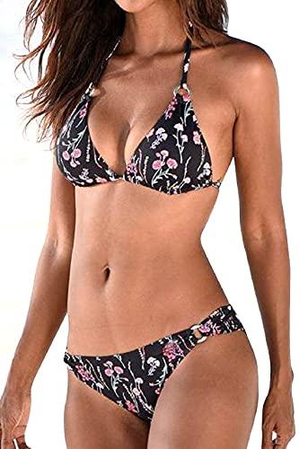 Yuson Girl Bikini de dos piezas para mujer, con estampado, atado al cuello, parte superior con push up, bikini sexy de cintura baja, tanga para mujer b M
