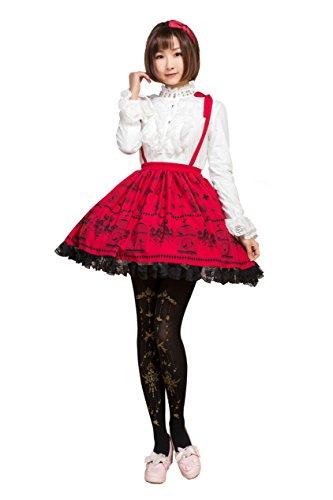 Trendareus Red Polyester Bird Cage Pendant Printed Lace Lolita Suspender Skirt