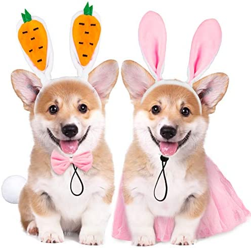 Whaline 2 Sets Easter Dog Bunny Costume Carrot Rabbit Ear Pet Headband Bowtie Collar Lace Skirt product image