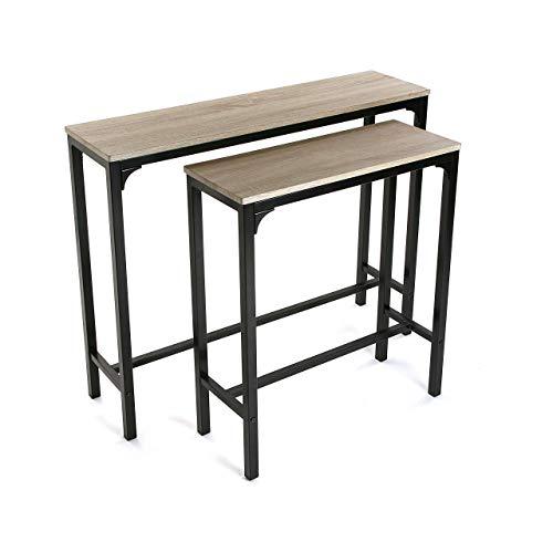 Versa Set 2 Mesas Mueble Recibidor Estrecho para la Entrada o el Pasillo Mesa Consola, Madera y Metal, Marron y Negro, 95x25x80 cm, 2 Unidades