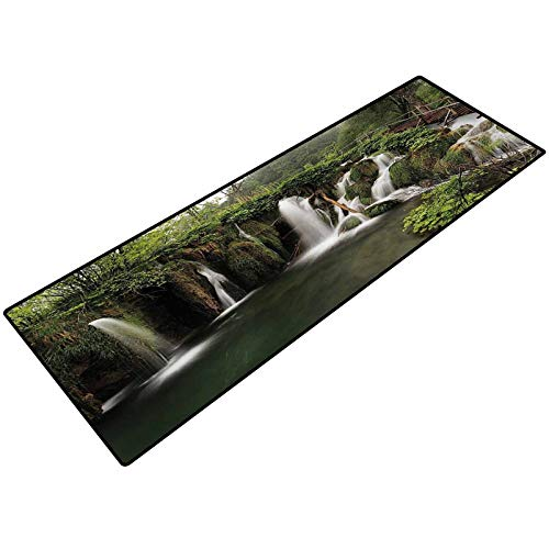 Waterfall Decor Rubber Mats Circled Waterfalls in Crotia with a Rustic Wood Cute Bridge Aside Comfort Mat for Kitchen Floor Standing Desk Rugs