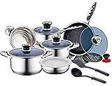 UNIVERS-DECOR Royalty Line - Batería de cocina de 16 piezas de acero inoxidable de primera calidad