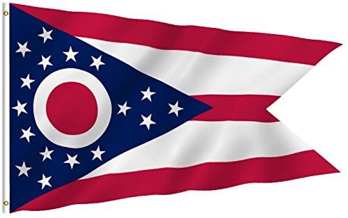 Anley Fly Breeze 3x5 Fuß Ohio State Polyester Flagge - Lebendige Farbe und UV-beständig - Canvas Header und doppelt genäht - Ohio OH State Flags mit Messingösen 3 X 5 Ft