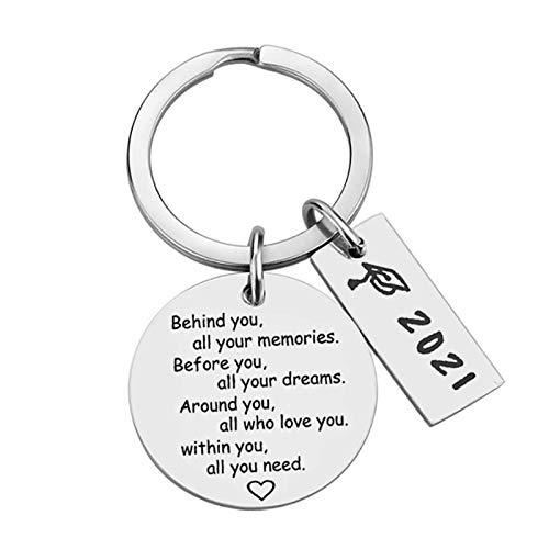 2021 Graduation Keychain Key Ring Commemorative Graduation Gift Special Jewellery Pendant Keyring Women Keychain Matching Heart Keychain Christmas Birthday Thanksgiving (B)