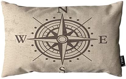 EKOBLA Throw Pillow Cover Compass Vintage Wind Road Map E N W S Direction Adventure Travel Rectangular product image