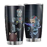 Generic - Tazza da viaggio in acciaio inox, con marchio Rick and Morty, idea regalo per amici per bevande ghiacciate e bevande calde, 600 ml, colore: bianco