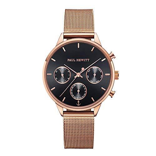 PAUL HEWITT Armbanduhr Damen Everpuls Black Sunray Roségold Mesh - Damen Uhr in Roségold mit einem abgestimmten Meshband aus Edelstahl und einem schwarzen Ziffernblatt