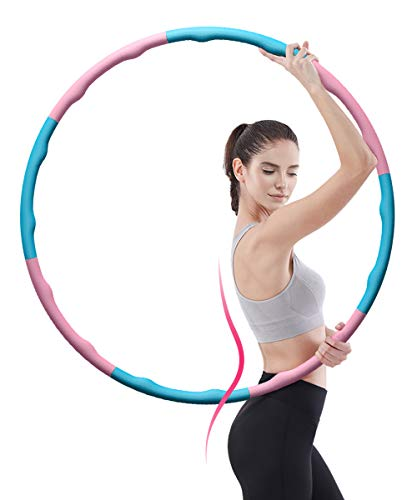 LYOU Hula Hoop for Adults, Weighted Fitness Hula Hoop for Exercise & Weight Loss & Burn Fat, Sports Hoop Exercise Hoola Hoop in Detachable Design for Easy Installation and Disassembly in Pink Blue