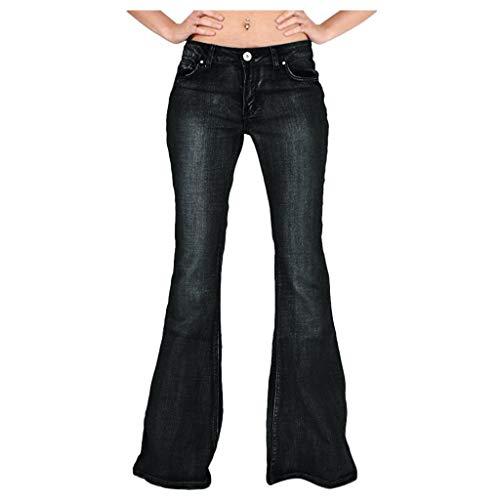 AOGOTO - Pantalones vaqueros clásicos con botones para mujer con bolsillo oculto