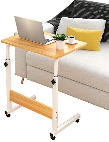 LY88 Metal Laptop Stand Rolling Cart met afsluitbare wielen, mobiele sofa bureau salontafel hout laptop boek bureau tafel voor thuis, slaapkamer (40x60x72-94 cm)