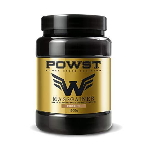 Estimulador Muscular, Suplemento Deportivo para Aumento de Masa Muscular con BCAA aminoacidos, Vitaminas y Minerales, 1,2Kg (Sabor Cookies) Ganador de Peso, Mass Gainer POWST