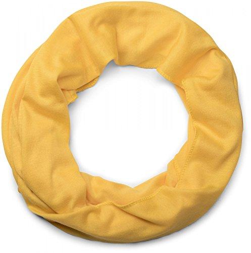 styleBREAKER unifarbener Jersey Loop Schlauchschal, Schal, Tuch, Unisex 01016115, Farbe:Gelb
