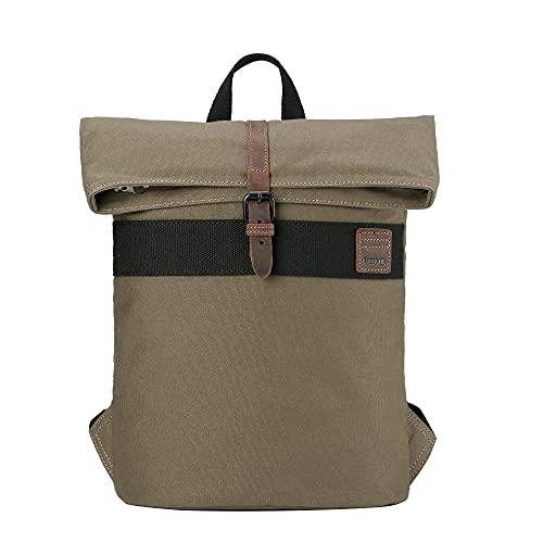 Troop London Canvas Leather Fold Top Rucksack, Rucksack für Damen und Herren, Laptop Rucksack für Damen und Herren, Canvas Tasche für Reisen und Arbeit, A4 Größe - TRP0475 Olive