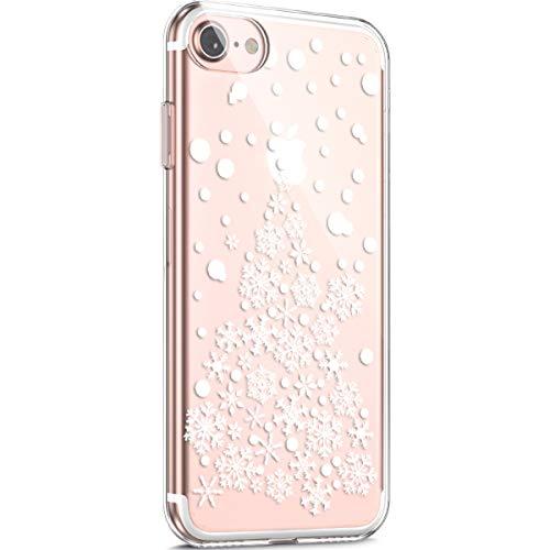 Surakey - Carcasa para iPhone 7 y 8, diseño navideño navideño, transparente, flexible, de silicona TPU, transparente, suave, ultrafina, para iPhone 7/8