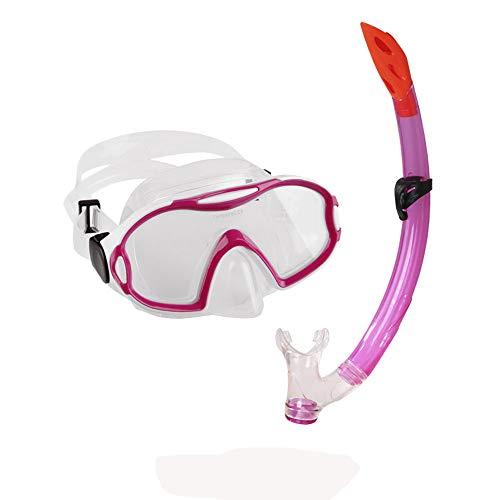 Conjunto de máscara de Snorkel Infantil, 180 Vista panorámica de respiración Libre de la Cara Completa de Snorkel máscara de Buceo de niño y Conjunto de Snorkel Semi-seco,Red
