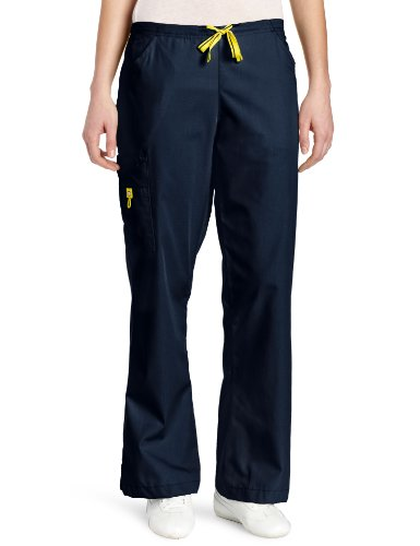 WonderWink Women's Flare Leg Cargo Pant, Navy, Small