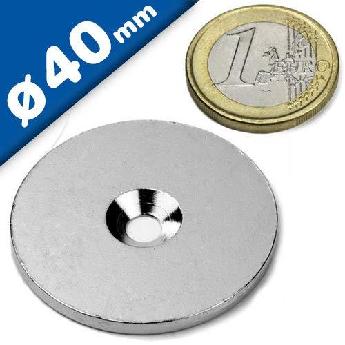 10 Metallscheiben rund mit Loch (Senkbohrung) - Ø40 x 3mm - aus Stahl (DC01) verzinkt - Metallplättchen rund mit Bohrung und Senkung (Senkbohrung) - Gegenstück/Haftgrund für Magnete (ferromagnetisch), Menge: 10 Stück