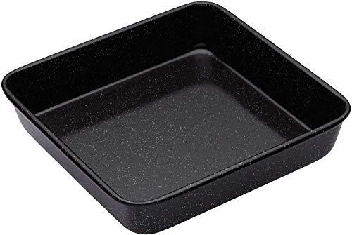 BETOY Ofenbackform Backblech mit extra hohem Rand, Backform aus hochwertigem Stahlblech mit Antihaft-Beschichtung, eckige Form für saftige und leckere Kuchen (Farbe: Schwarz) Menge: 1 Stück