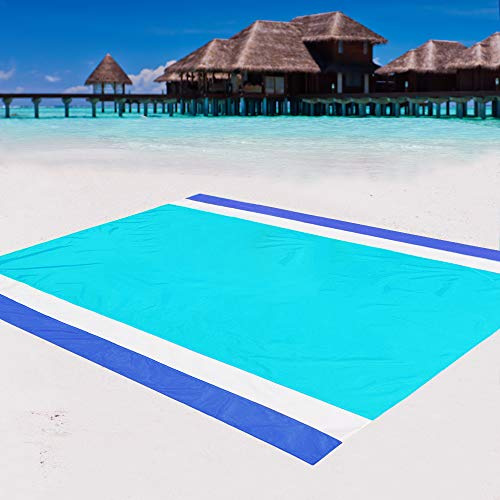 WIWIGO Sand Free Beach Blanket Lightweight Waterproof Beach Mat, Outdoor Portable Picnic Mat for Travel, Camping, Hiking Compact Sand Proof Mat Quick Drying(Lakeblue)