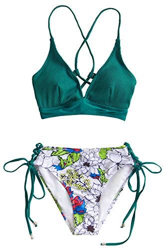 CUPSHE Women's Green Floral V Neck Lace Up Bikini,L