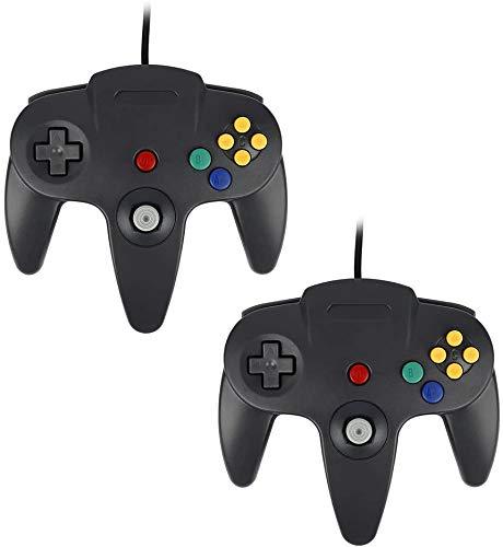 QUMOX 2X Jeux Controleur Joystick Manette pour Nintendo 64 N64 System Gamepad Noir