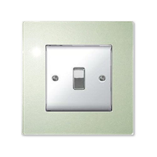 Focus Plastics SINGLE LIGHT SWITCH SOCKET COLOURED ACRYLIC SURROUND FINGER PLATE - BUY 2 GET EXTRA 1 FREE (10 COLOURS) (Green Tint/Glass Effect)