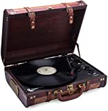 ClearClick Vintage Suitcase Turntable with Bluetooth & USB - Classic...