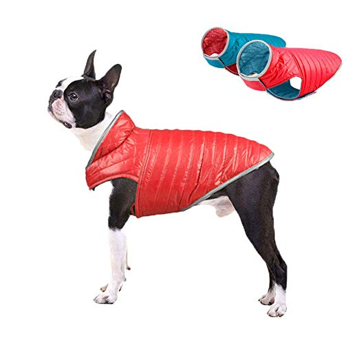 ABRRLO Hundejacke Winterweste Hundemantel wasserdichte Reflektierend Haustier Ärmellose Wende-Daunenjacke Warm Hunde Jacken Für Herbst Winter
