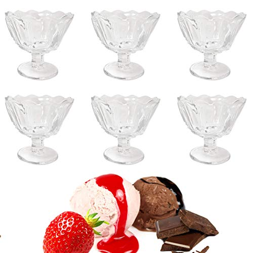 French Style Dessert Ice Cream Cups - Parisian Fruit Dishes Mini Trifle Bowls Exquisite French Crystal Glass Lead Pb Free 6