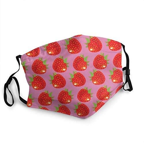 BIT Bandana für Erwachsene, mit Erdbeeren-Muster, winddicht, atmungsaktiv, für Angeln, Wandern, Laufen, Radfahren