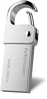 64GB USB Flash Drive, Moreslan USB 3.0 Flash Drive Keychain USB Stick Waterproof Aluminum Memory Stick Pen Drive High Speed for Computers Tablets and Other USB Devices - Silver