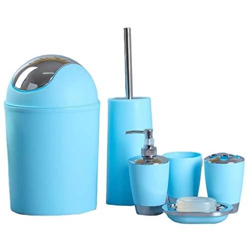 n.g. Wohnzimmerzubehör 6 STÜCKE Badzubehör Set Waschflasche Mundwasser Tasse Seife Zahnbürstenhalter Abfalleimer Toilettenbürste Haushaltsartikel (Farbe : Blau)
