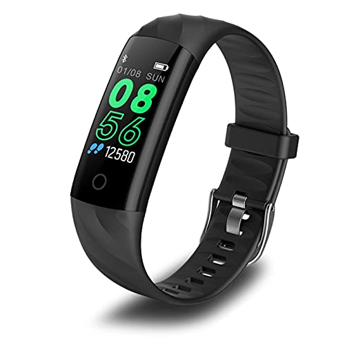 ZFF Pulsera Deportiva - Smart Watch Lady IP68 Pulsera Impermeable Impermeable Pulsera Deportiva Smart Fitness Tracker Presión Arterial Monitor de Ritmo cardíaco Monitor Smart Watch (Color : Black)