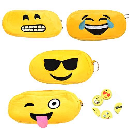 Osuter 4PCS Estuche Escolar Suave Bolsa de Lapices con 4PCS Gomas de Borrar Emoji Estuche Portalápices para Escuela Útiles Escolares Regalo