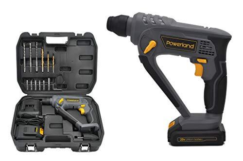 Powerland HD08 Akku-Bohrhammer 20V Akku-Bohrhammer 3-in-1-Funktion mit 2,0 A Löwenbatterie/Schnellladegerät Li-Ionen-Werkzeugsatz gutes Werkzeug Home Garage im Freien