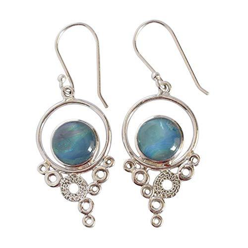 Pendientes de mujer de aguamarina natural azul con gancho y pendientes de gota hechos a mano, pendientes colgantes, joyería de plata, FSJ-4403