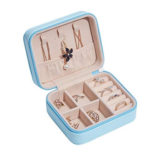 MUY Pendientes de botón portátiles Anillos Caja de Almacenamiento Elegante Mini Caja de joyería de Cuero de PU Estuche Chica Pendiente de Diamante Pendiente de Oreja Collar Caja Regalo de Pascua