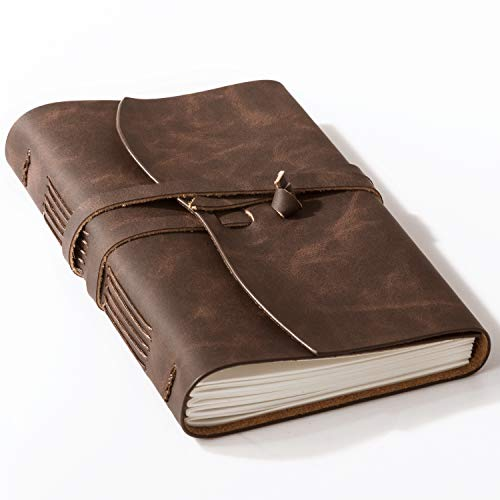 Bedsure Leather Sketchbook - Rustic Handmade Leather Journals Notebook Unlined for Men and Women - Kraft Paper with 240 Blank Pages, 5x7 inches, Leather Sketch Book for Drawing, Brown
