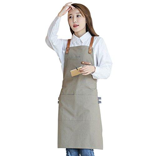 YUENA CARE Ajustable Delantal de Trabajo Mandil de 100% Algodón Unisex con Diseño de Espalda Correas Cruzadas de Moda para Cafetería Tienda de Postres Restaurante (Caqui Grande 85 x 70cm)