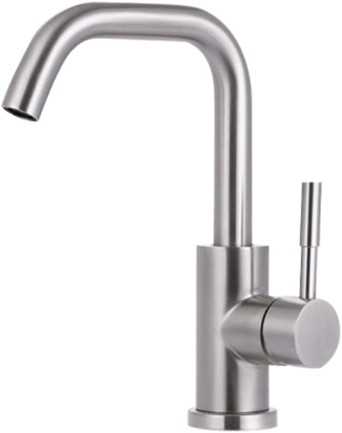 Basin Taps Swivel Spout Faucet Basin Hot and Cold Water Faucet 304 Stainless Steel Table Basin Faucet Single Hole Washbasin Faucet