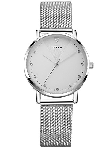 Alienwork Armbanduhr Damen Silber Metall Mesh Armband Edelstahl Weiss Strass-Steinen Glitzer Elegant
