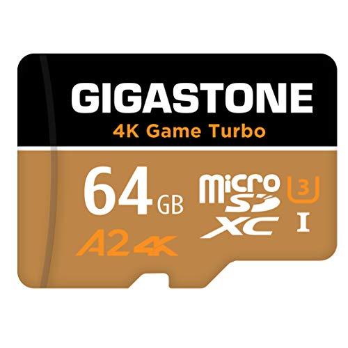 Gigastone Carte Mémoire 64 Go 4K Game Turbo Série, Compitable avec Switch, Vitesse de Lecture allant jusqu'à 95 Mo/s. Idéal pour Console de Jeu, A2 U3 Carte Micro SDXC Classe 10 avec Adaptateur SD.