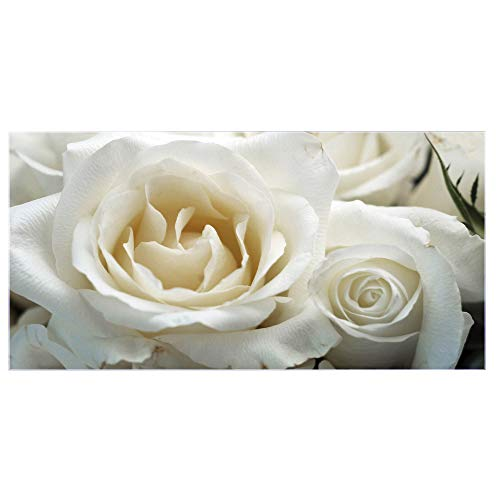 banjado Glas Nischenrückwand für Küche 100cm x 50cm | Küchenrückwand mit Motiv White Roses | Spritzschutz selbstklebend ohne Bohren | Fliesenspiegel magnetisch und beschreibbar