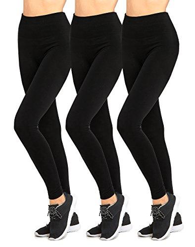 Leggings - Women's Seamless High Waist Fleece Lined Leggings (Pack of 3) - Black
