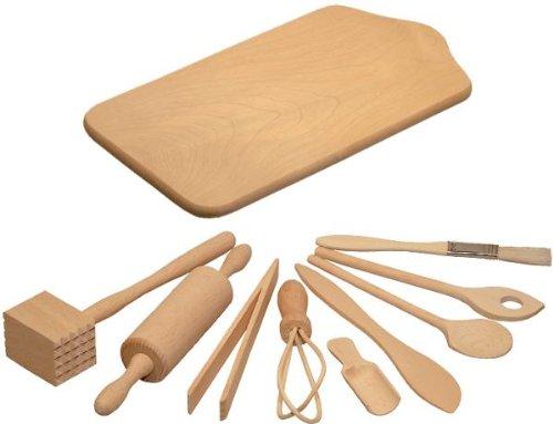 HOFMEISTER® Backset für Kinder, 10 teilig, Kochlöffel, Nudelholz, Teigschaber, Schneebesen, Mehlschaufel, Quirl, Holzbrettchen, zum Backen & für die Spielküche, Made in EU