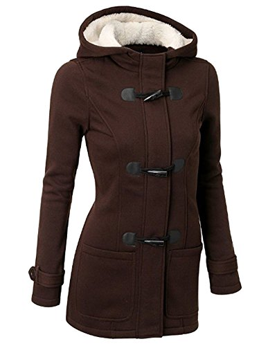Mujer Invierno Abrigo Casual Sudadera con Capucha Chaqueta de Capa Jacket Parka Pullover Marron Oscuro S