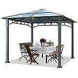 Cenador de Jardín Aprox. 3x3 m Marco de Aluminio Aprox. 8mm Policarbonato Techo Gazebo de Jardín sin Cortinas Laterales